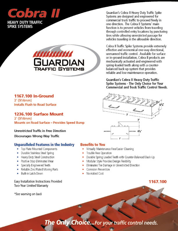 TireShark™ brand Traffic Spikes by TrafficSpikesUSA.com / Monsoon Mfg. LLC. One-way access control systems for road traffic, retractable tire poppers, Tiger Teeth, Cobra, Enforcer motorized spike strips for in-ground & surface installation, directional treadle systems for in-bound and out-bound pneumatic tires. Discount: apartment complex, shopping center, mall, airport, military base, factory and business to protect parking lot, employee, security, public access, commercial property. Contractors welcome.